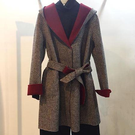 易菲合体中长大衣Y163D015 羊毛大衣