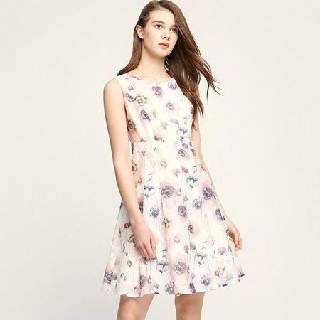 Vero Moda2017新款个性印花设计A摆连衣裙(本白色)31727A526A10