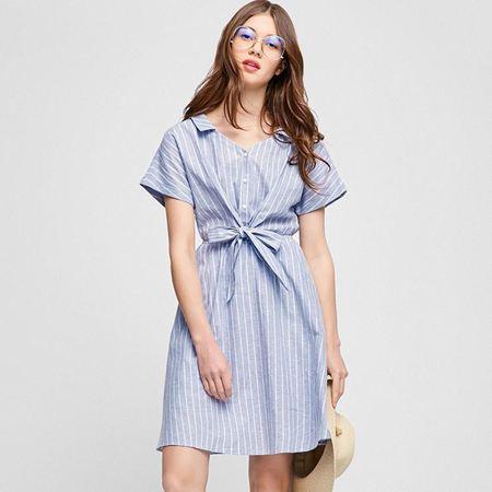 Vero Moda2017新款蝙蝠短袖条纹系带衬衫连衣裙浅惠蓝色 31727B512E39
