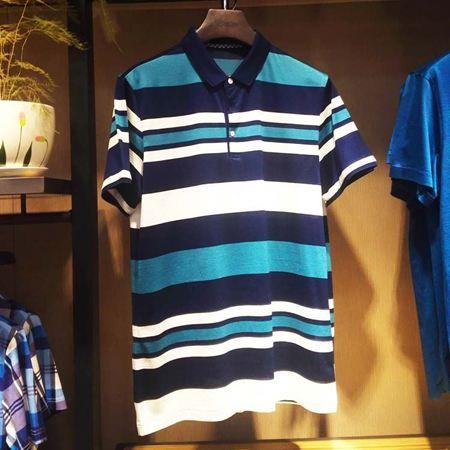 罗蒙男士短袖T恤6T74021 蓝白条纹 2017新款