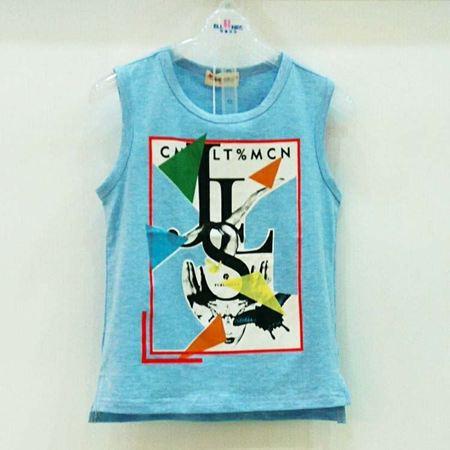 布鲁莎莎男童T恤B702086 彩蓝色/象牙白
