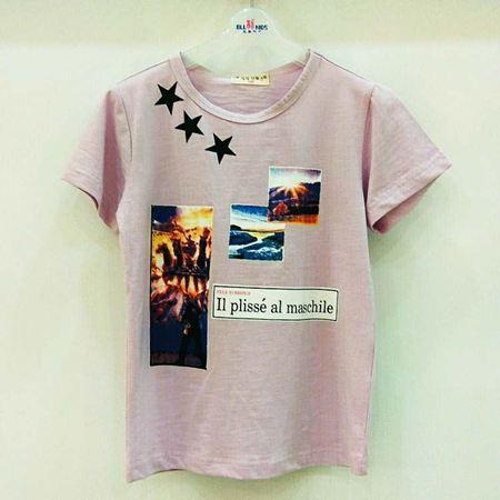 布鲁莎莎男T恤B702017 粉紫色/象牙色