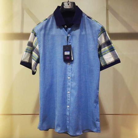 花花公子男装短袖衬衣IM52-DC01002/IM52-DC01007 蓝格/蓝色