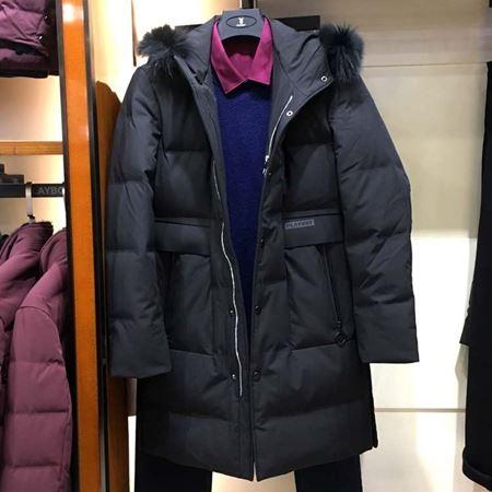 花花公子白鸭绒羽绒服828111 黑色中长款 2017冬季新款