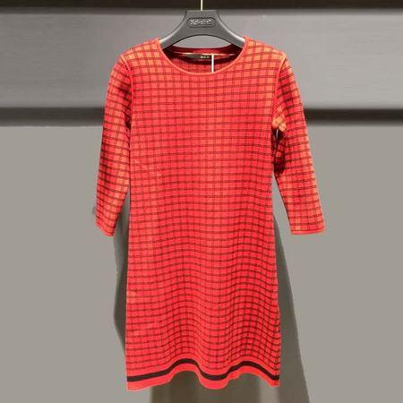 红贝缇 冬款连衣裙 大红格 红色变奏曲 L6J3152