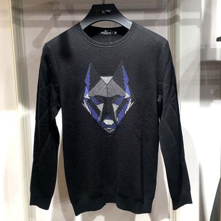 七匹狼男装圆领厚毛衫111770202687 黑色