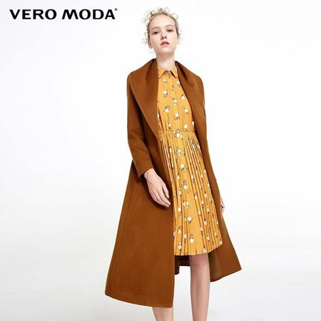 Vero Moda 2017冬季新款 翻领腰带收腰长款毛呢大衣 317427512E11