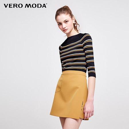 Vero Moda 2018春季新款 拼色条纹七分袖针织衫 318124508S59
