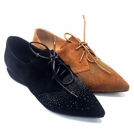 吉尔达春款女皮鞋绒面带金片低跟 5002GD-81202-7612W 黑色/棕色 2018年新款