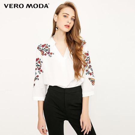 Vero Moda 2018春季新款 刺绣花朵七分袖衬衫 318158504