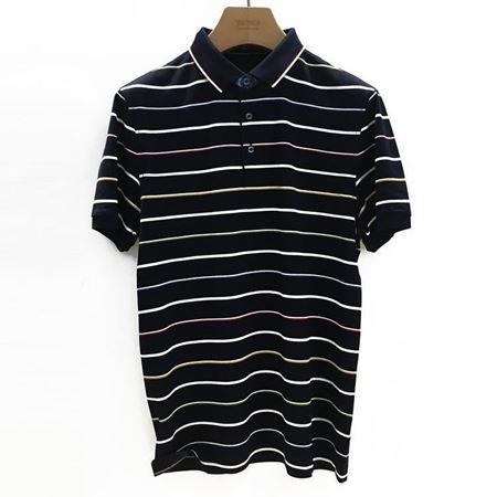 雅戈尔 男士短袖上衣 YSCS52511FCA 黑色底白色条纹