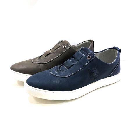 七匹狼鞋业 休闲男皮鞋 8383430245 深蓝色/灰褐色