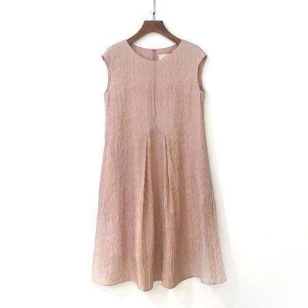 三生物 真丝提花结构盖袖连衣裙 1XWA287EL 粉棕色 夏季新款