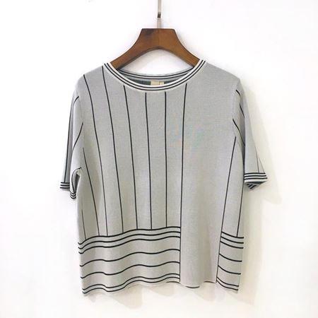 三生物 横竖条纹宽松针织小衫 1XWWQ181 霜白色 夏季新款