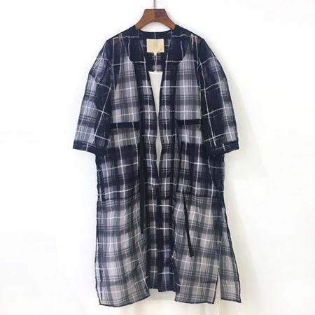 三生物 丝绵格子抽绳开衫 1XWE160EL 蓝色格子 夏季新款