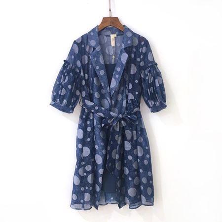 三生物 印花连衣裙 1XWA179MY 蓝色 夏季新款