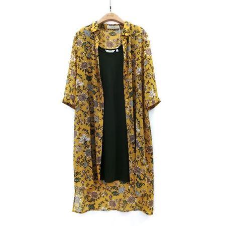 易菲 套装 H型中袖连衣裙(外件)+针织连衣裙(内件)1806Y295 小径漫步