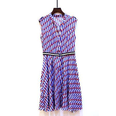 艾菲 连衣裙 180025 蓝白条夹红色 2018年夏季新款