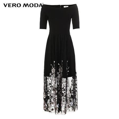 VERO MODA 2018夏季新款 五分袖花朵刺绣网纱拼接连衣裙 31826Z557