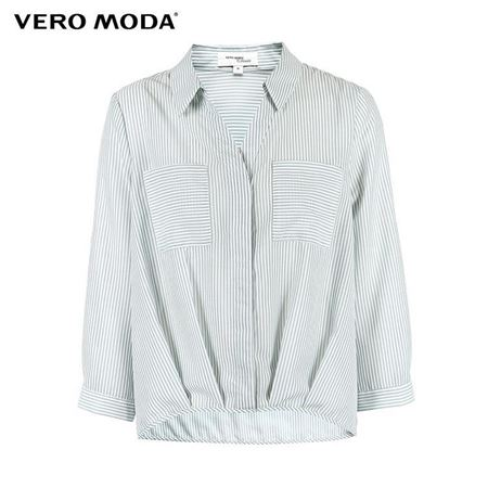 VERO MODA 2018夏季新款 条纹翻领七分袖衬衫女 318231600