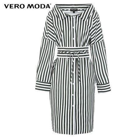 VERO MODA 2018夏季新款 条纹纯棉连衣裙 318205534