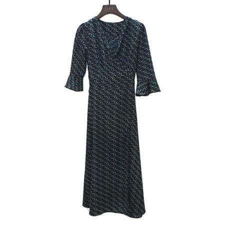 艾菲连衣裙100%桑蚕丝面料180066 墨绿色 夏季新款