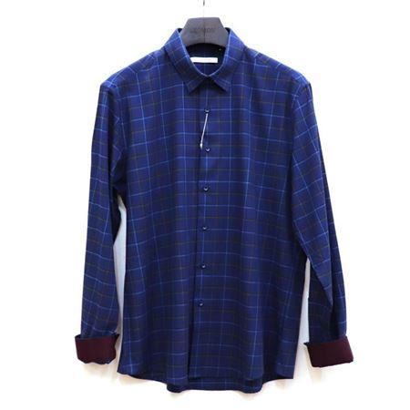罗蒙男士长袖T恤 6C731260 深蓝色花格 2018秋季新款