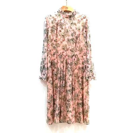 慕托丽 桑蚕丝连衣裙 MR3120121213W013 粉红底花色 2018新款上市