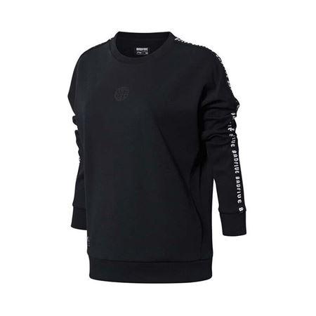 李宁 18秋款 女子时尚保暖套头卫衣 运动服 AWDN062 标准黑