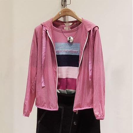 易菲 2019春款 宽松短款梭织外套1903T208 粉红