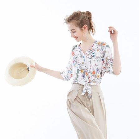 Vero Moda 甜美风系带印花宽松款五分袖衬衫女 31836W501S85