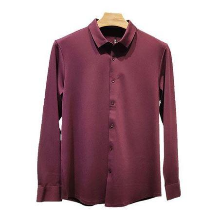 培罗蒙2019春季新款针织衬衫9188-60-暗红