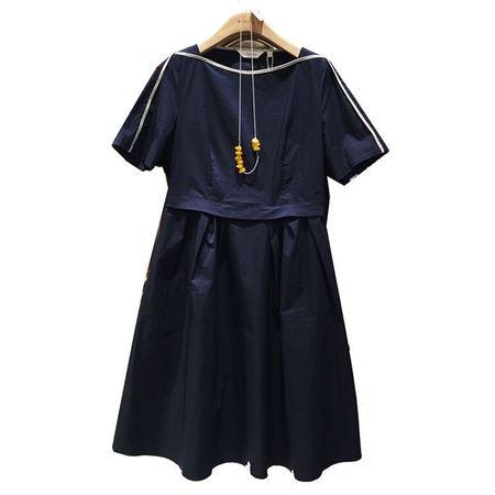 易菲 X型短袖连衣裙1904Y210 藏青色 2019夏季新款