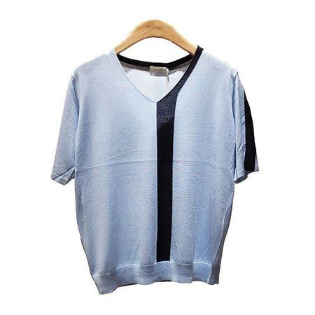 易菲宽松正常款毛织上衣1905M212 天蓝色 2019夏季新款